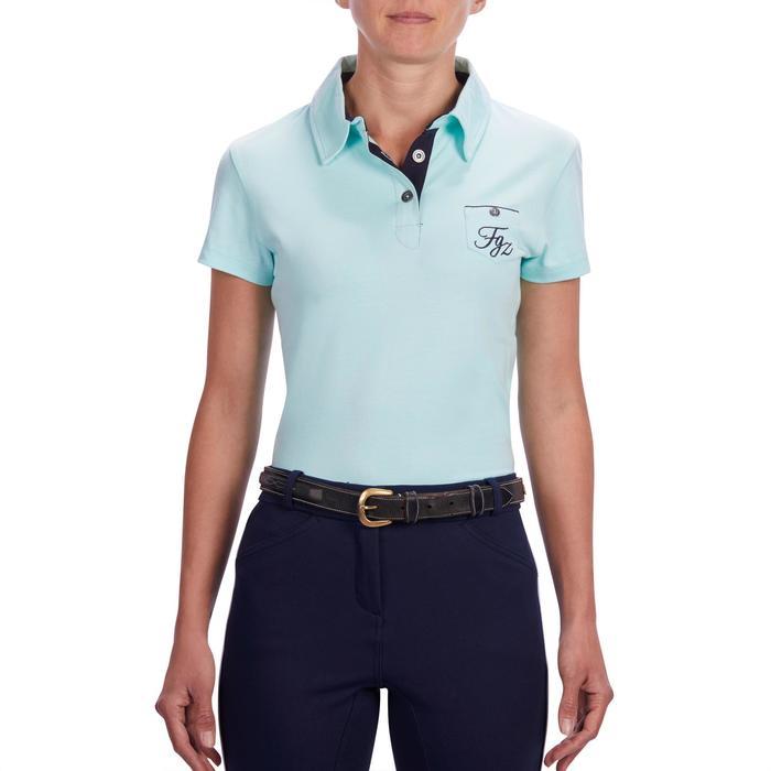 Reit-Poloshirt kurzarm PL140 Damen meergrün mit Blumenmotiv