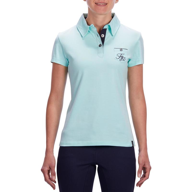 fed61b23f 140 Women's Horse Riding Short-Sleeved Polo Shirt - Sea Green | Fouganza