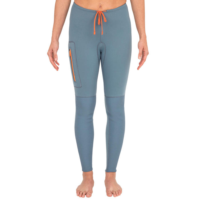 PANTALON CANOE KAYAK ET STAND UP PADDLE 500 FEMME NEOPRENE 2MM BLEU