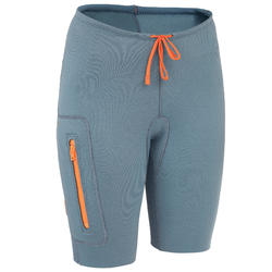 Neoprenshorts Kajak und Stand Up Paddle 500 Neopren 2mm Damen blau