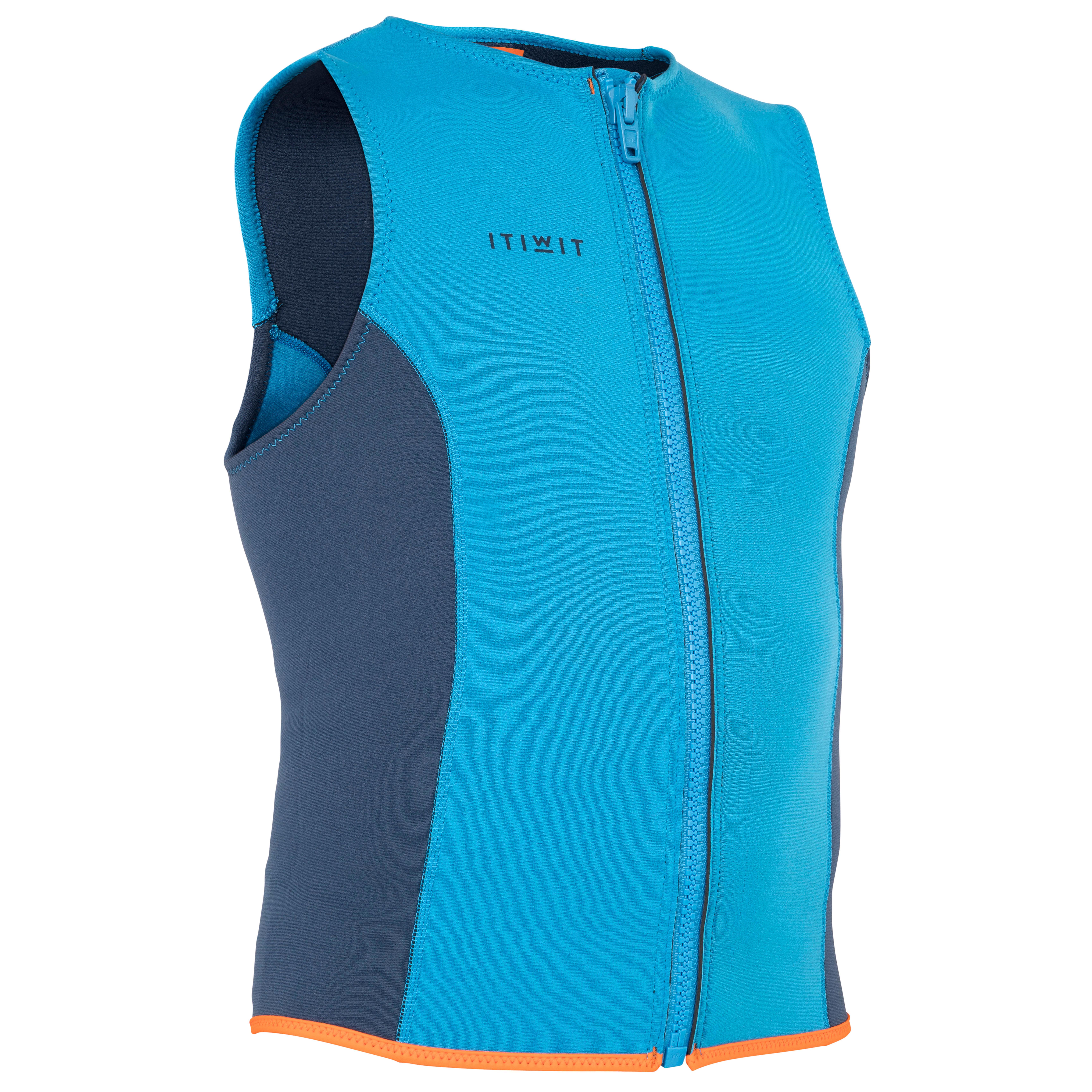 Nepreen vest / wetsuit vest kajakken / sup 500 neopreen 2 mm blauw - itiwit