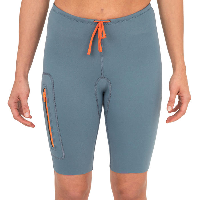 Neoprenshorts Kajak und Stand Up Paddle Neopren 2 mm Damen blau