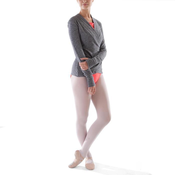 Chaqueta cruzada de danza clásica mujer gris jaspeado