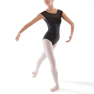 Trusa de dos materiales de manga corta ballet mujer negro