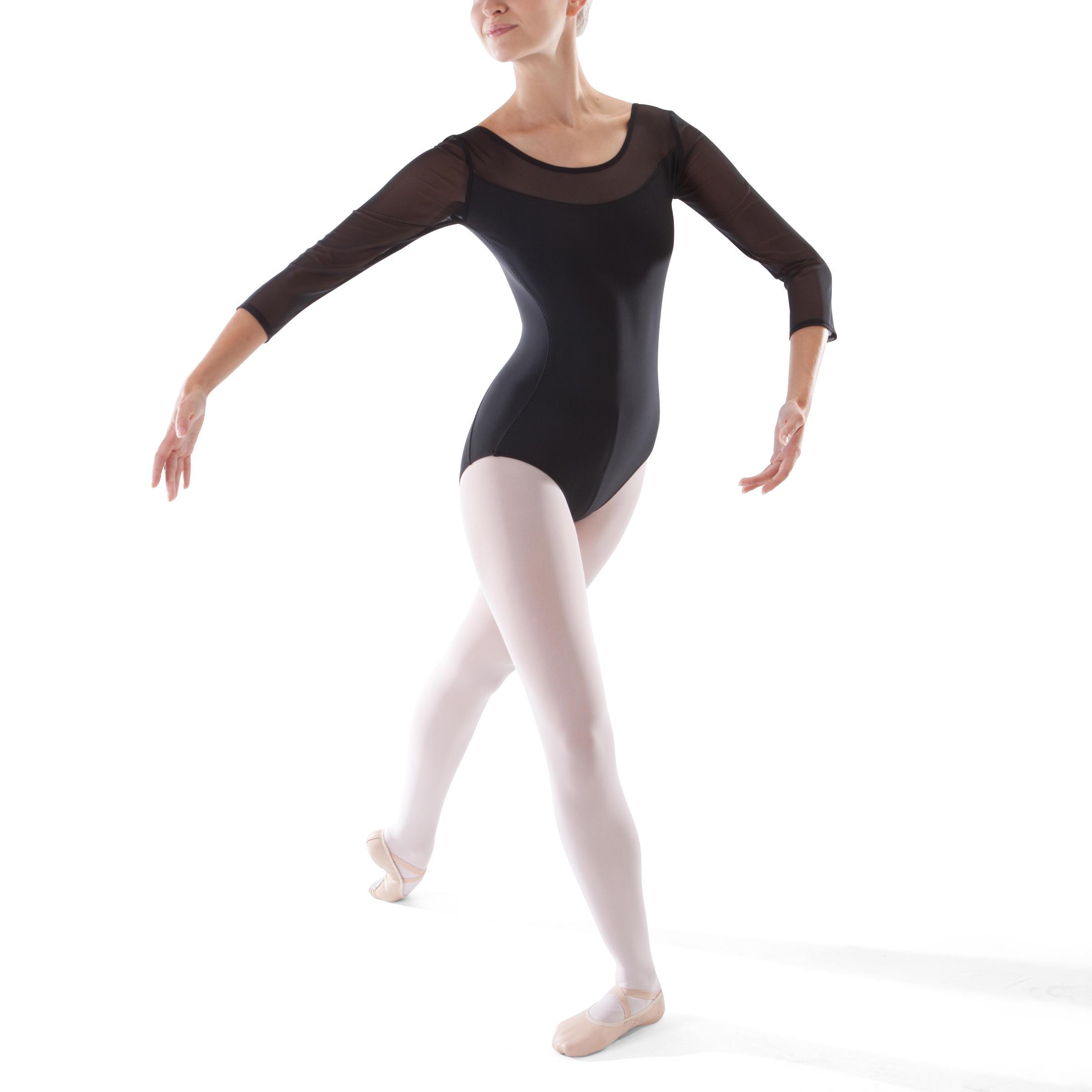 Leotardo de danza clásica de dos materiales manga larga mujer negro