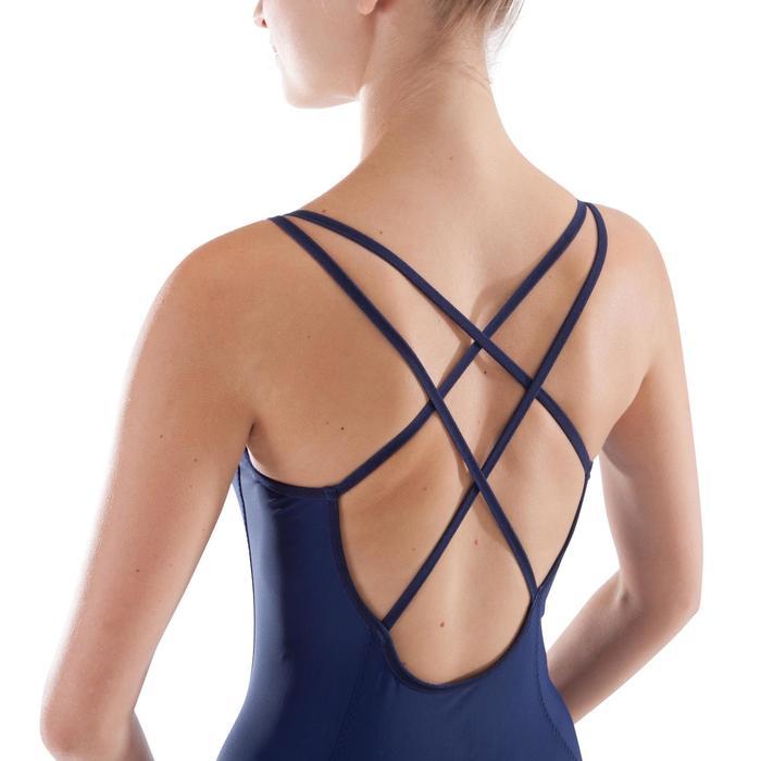 Justaucorps de danse classique à bretelles croisées femme bleu marine - 1279998