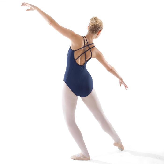 Maillot de danza clásica tirantes cruzados mujer azul marino
