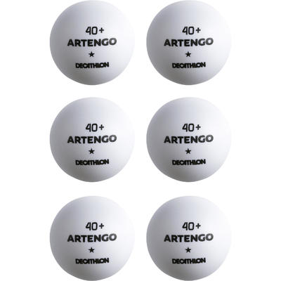 מארז 6 כדורי טניס שולחן TTB 100* 40+ - לבן