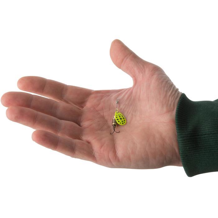 Spinner voor roofvissen Weta + #0 geel zwarte stippen