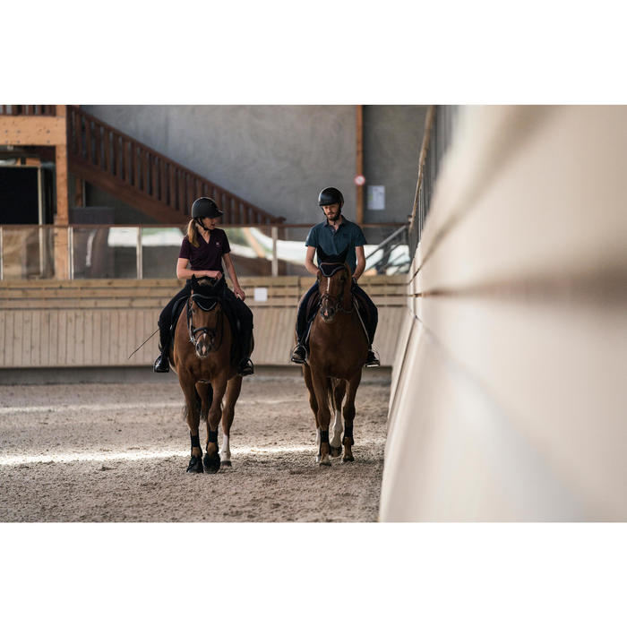 Polo manches courtes équitation femme PL500 MESH bleu marine et - 1281282