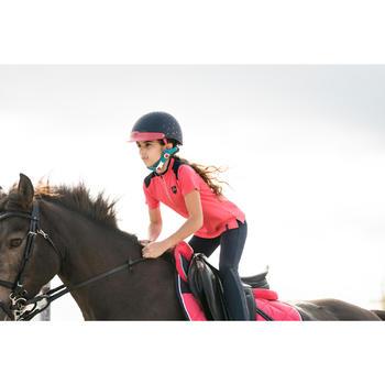 Polo Equitación Fouganza 500 Niño Rosa y Azul Marino Manga Corta