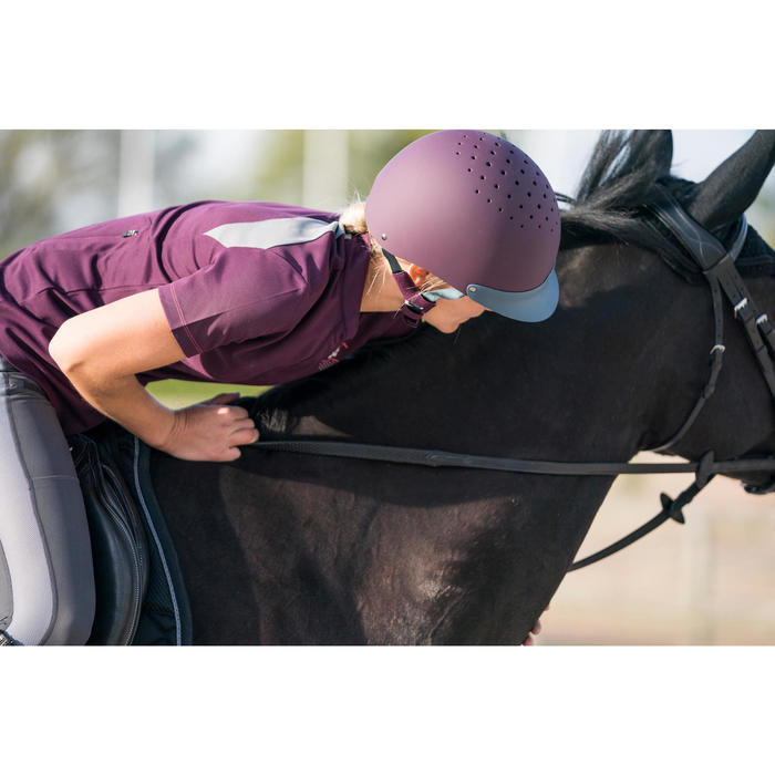 Polo manches courtes équitation femme PL500 MESH bleu marine et - 1282162