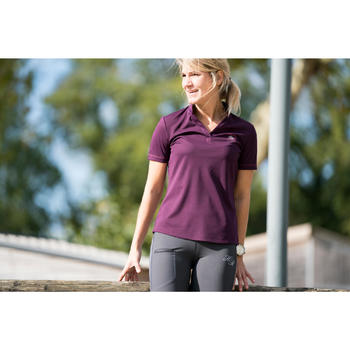 Damespolo met korte mouwen ruitersport PL500 mesh pruim en grijs