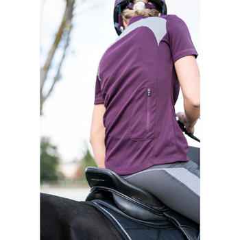 Polo manches courtes équitation femme PL500 MESH prune et gris