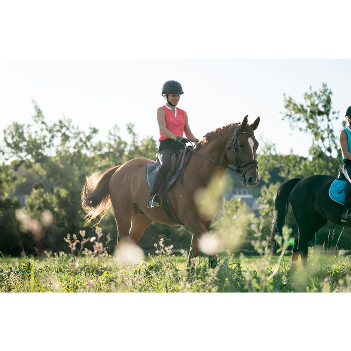 Camiseta sin mangas equitación mujer DEB500 MESH rosa y gris