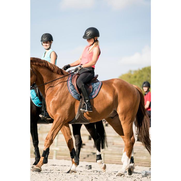 Tapis de selle équitation poney et cheval 580 gris/liseré rose