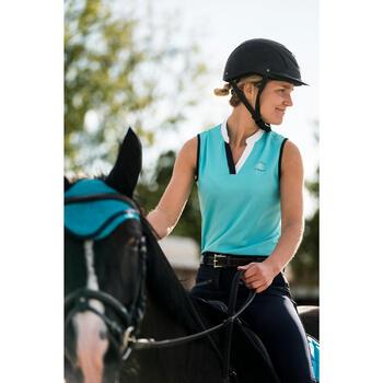 Mouwloos poloshirt ruitersport voor dames DEB500 Mesh turquoise en marineblauw