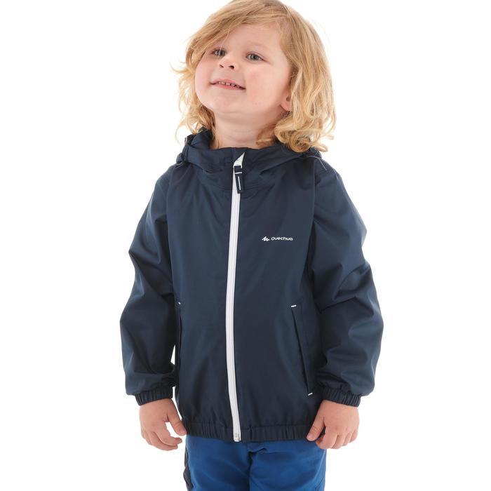 Hike 500 Children's Boy's Waterproof Hiking Jacket – Blue Print - 1282262