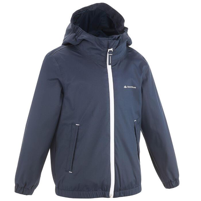 Hike 500 Children's Boy's Waterproof Hiking Jacket – Blue Print - 1282286