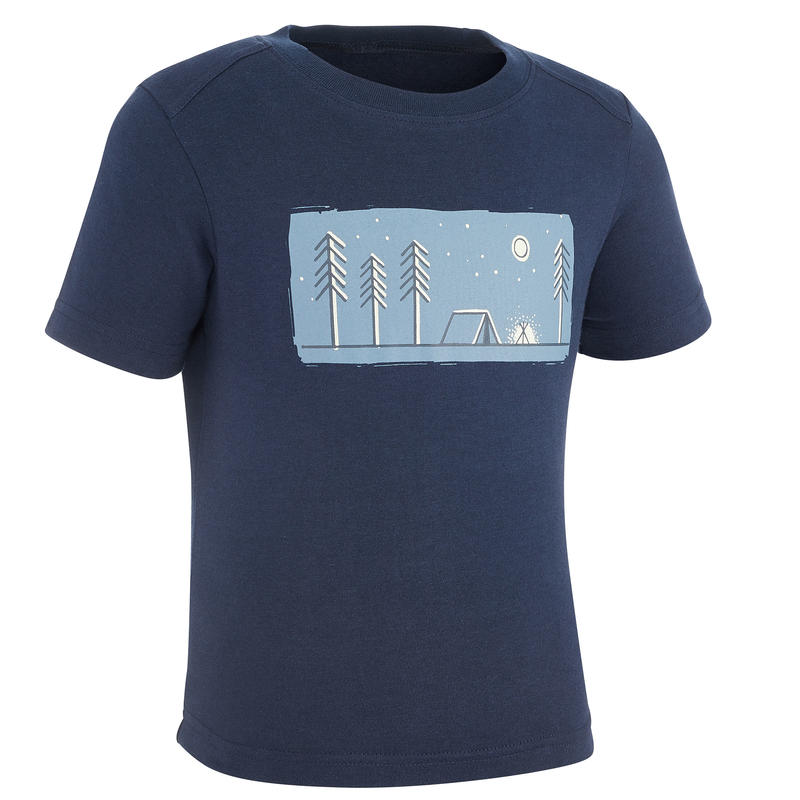 MH100 Yellow Kid's Hiking T-Shirt - Navy Blue