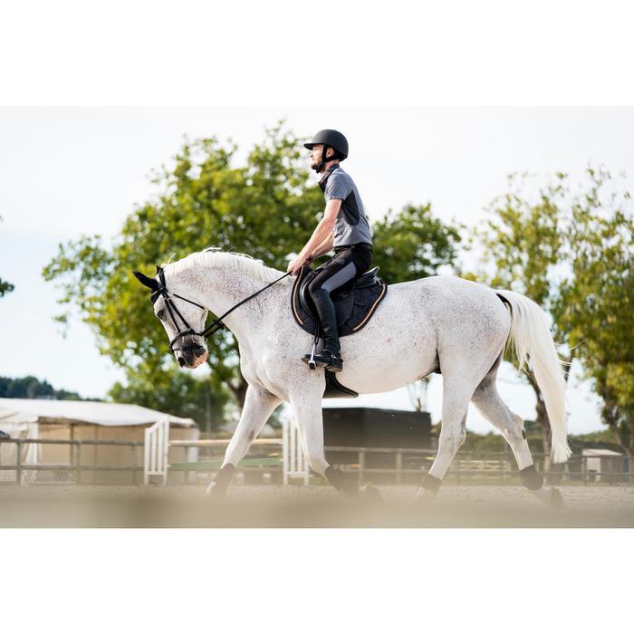 Polo manches courtes équitation homme 500 MESH gris et camel