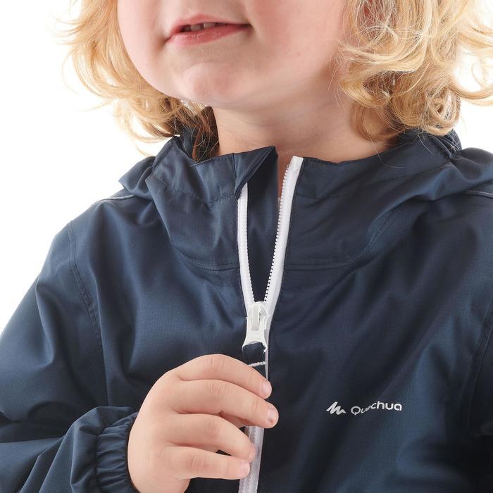 Hike 500 Children's Boy's Waterproof Hiking Jacket – Blue Print - 1282306