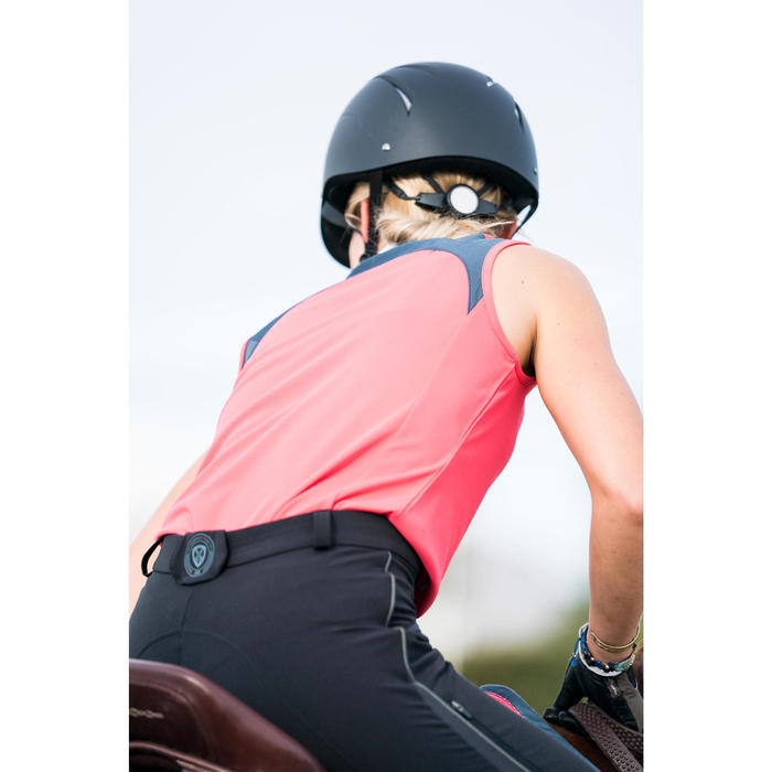 Damestop ruitersport DEB500 mesh roze en grijs