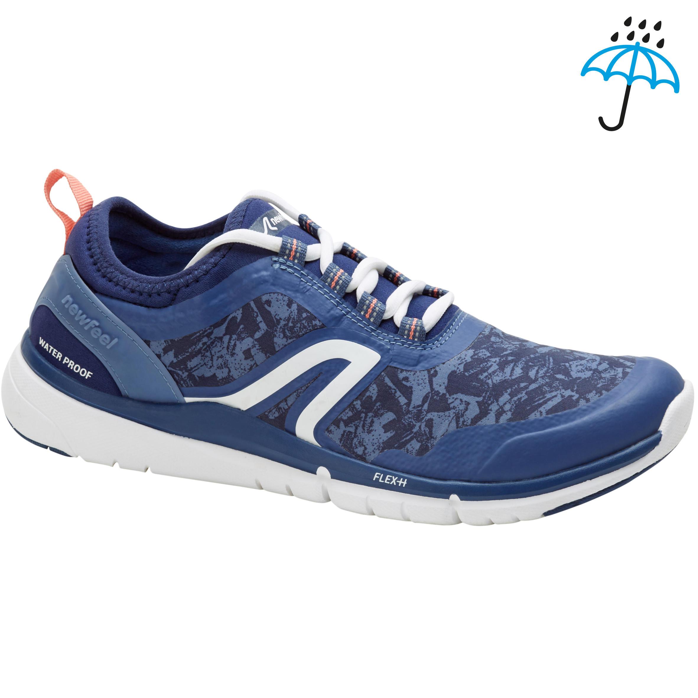 Tenis de caminata deportiva para mujer PW 580 Waterproof azul marino / rosa