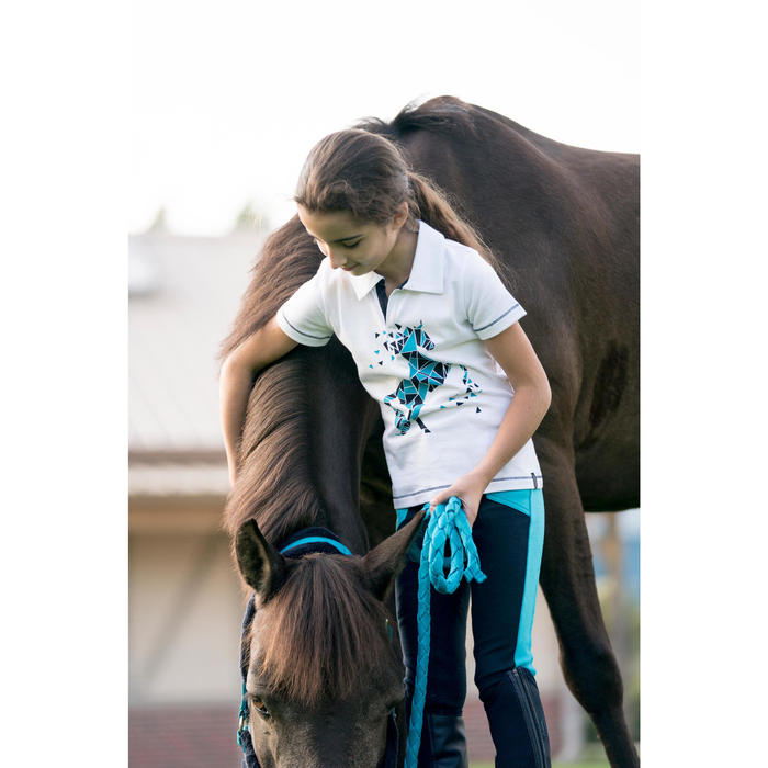 Kinderpolo met korte mouwen PL100 ruitersport wit met blauw/turquoise motief