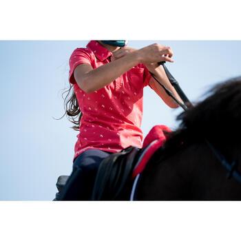 Polo manches courtes équitation fille PL140 GIRL rose motifs blancs
