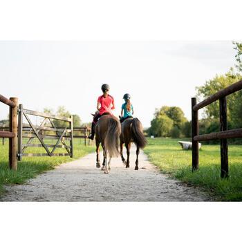 Polo de manga corta equitación niña 500 Mesh rosa y ciruela