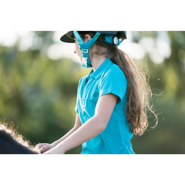 Polo de manga corta equitación niños PL500 MESH turquesa y azul marino