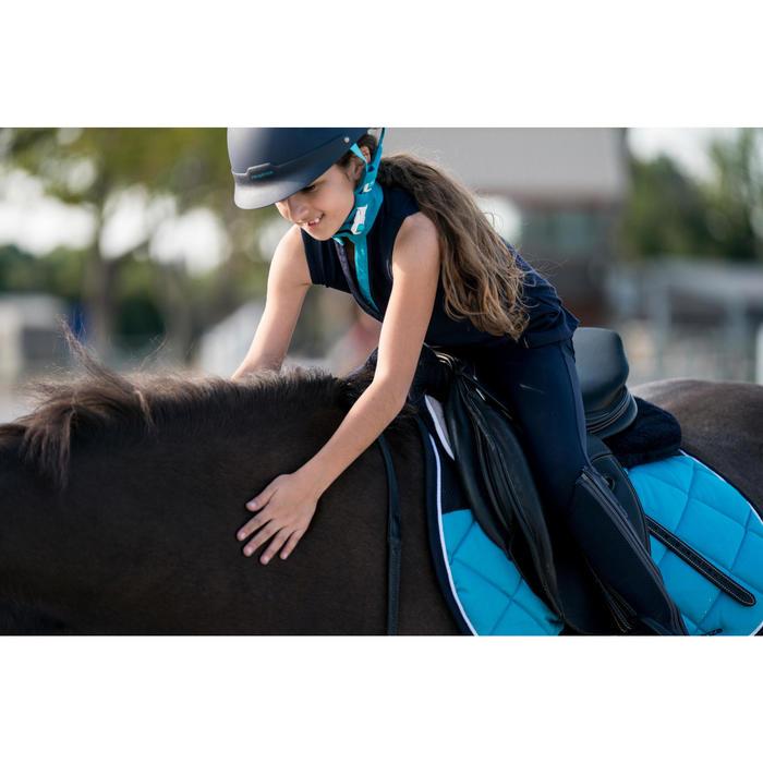 Mouwloos poloshirt ruitersport meisjes DEB100 marineblauw en turquoise