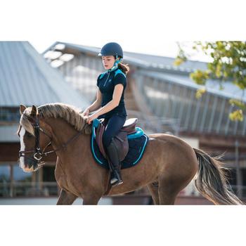 Polo manches courtes équitation fille PL500 marine et turquoise