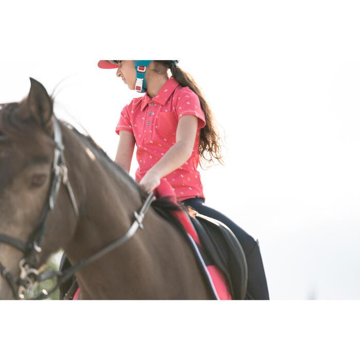Polo manches courtes équitation fille PL140 GIRL motifs blancs - 1282397