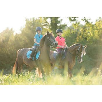 Polo manches courtes équitation fille PL500 MESH rose et prune
