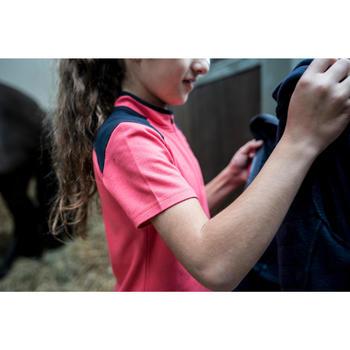 Polo manches courtes équitation fille PL500 rose et marine