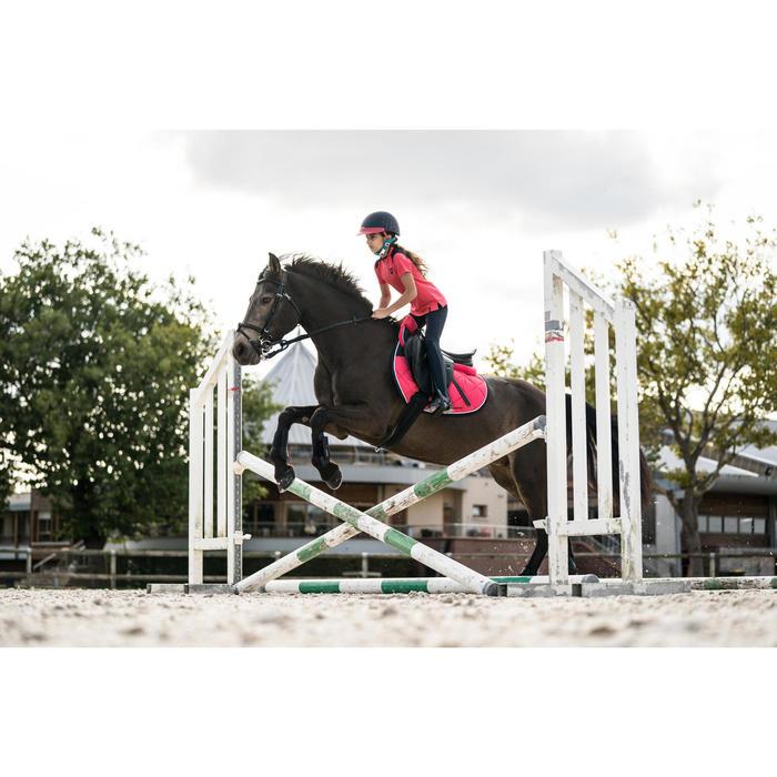 Polo manches courtes équitation fille 500 rose et marine