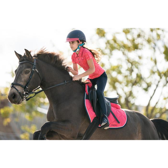Polo korte mouwen ruitersport meisjes PL140 roze met wit motief