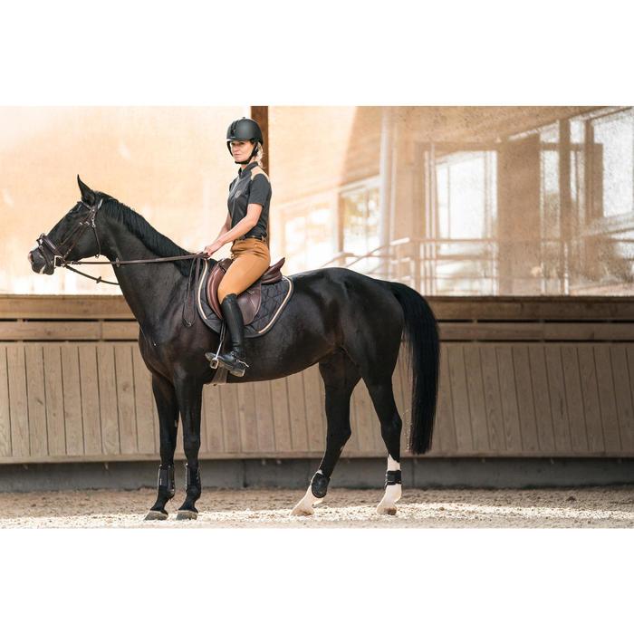 Tapis de selle équitation poney et cheval 580 gris anthracite/liseré camel