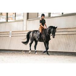 Polo manga corta equitación mujer PL500 Gris y Camel