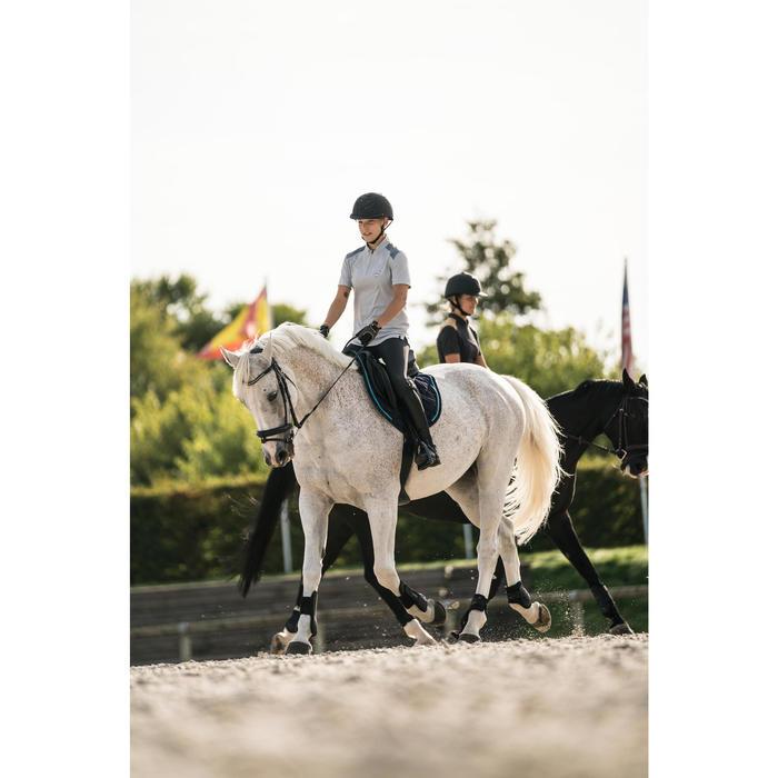 Polo manga corta equitación mujer PL500 Perla y Gris oscuro