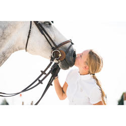 Chemise de concours manches courtes équitation femme blanc broderie argent