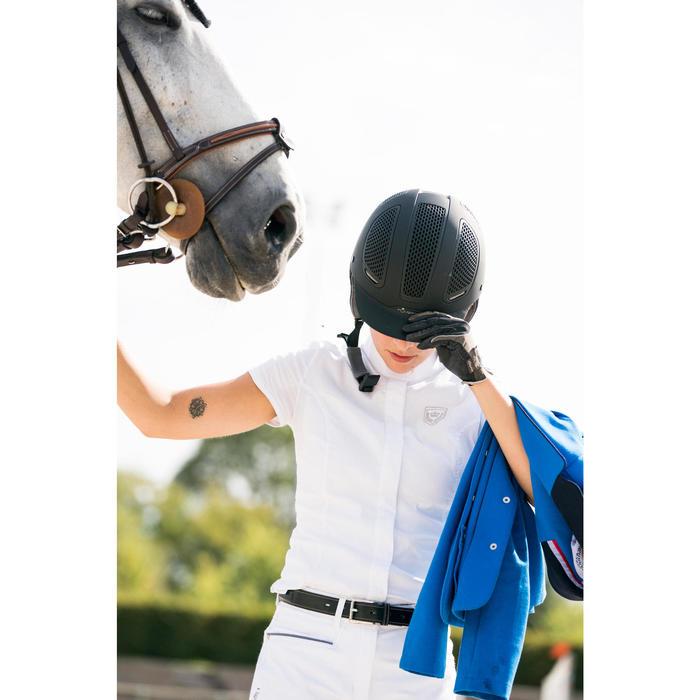 Camisa manga corta Concurso equitación mujer blanco bordado plata