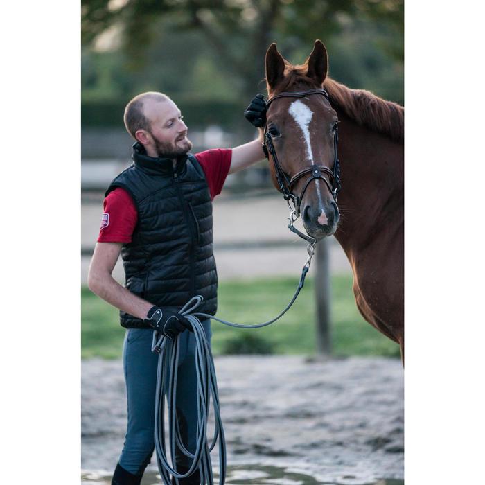 Chaleco Equitación Fouganza 100 Hombre Negro De Guata Ligero 3 Bolsillos