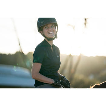 Polo manches courtes équitation femme PL500 MESH bleu marine et - 1282697