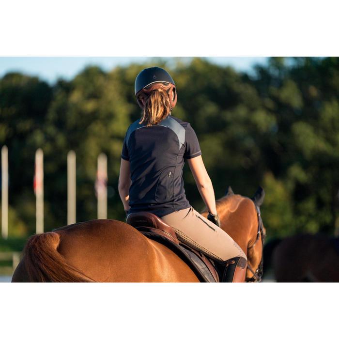 Polo manches courtes équitation femme PL500 MESH bleu marine et gris