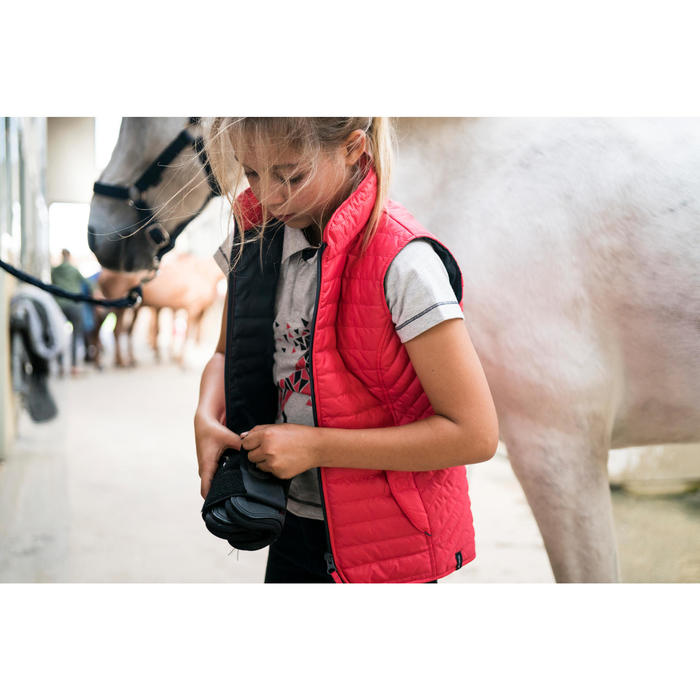 Polo manches courtes équitation fille 100 gris chiné motif rose