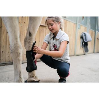 Polo manches courtes équitation fille PL100 gris chiné motif rose