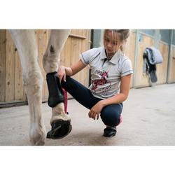 Polo manga corta equitación niña PL100 gris jaspeado motivo rosa